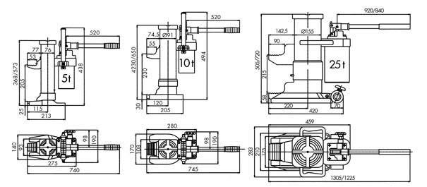 PLANETA Maschinenheber Typ HM Zeichnung