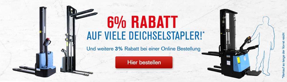 Aktion: 6% Rabatt auf viele Deichselstapler
